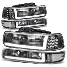 4PCS Black Clear Corner LED DRL Headlight Bumper Turn Signal Lamps Replacement for Chevy Silverado Suburban Tahoe 99-06