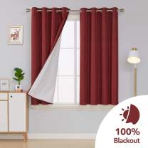 Deconovo Small Total Blackout Curtains with 3 Pass Coating Back Layer Textured Thermal Insulated Grommet Drapes for Window 52x54 Inch Burgundy Red 2 Panels