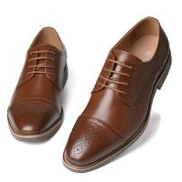 Men's Leather Oxford Dress Shoes Formal Cap Toe Lace Up Modern Shoes
