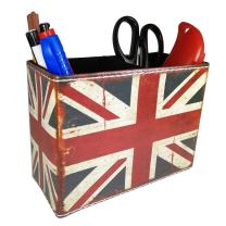 Vintage Pen Pencil Holder Cup - DreamsEden Retro Pattern Desk Organizer for Home Office Bedroom (Union Jack Flag Square)