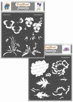CrafTreat Layered Flower Stencils for painting on Wood, Canvas, Paper, Fabric, Floor, Wall and Tile - Pansy and Anemone - 2 Pcs - 6x6 Inches each - Reusable DIY Art and Craft Stencils - Floral Stencil