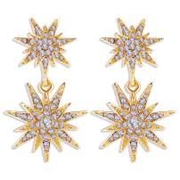 CZ Starburst Dangle Drop Earrings Crystal Hexagram Star Stud Statement Dangle Earrings Wedding Earrings for Women Gold Plated Earrings for Girls