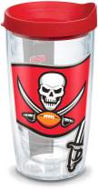 Tervis 1141262 NFL Tampa Bay Buccaneers Colossal Tumbler with Wrap and Red Lid 16oz, Clear