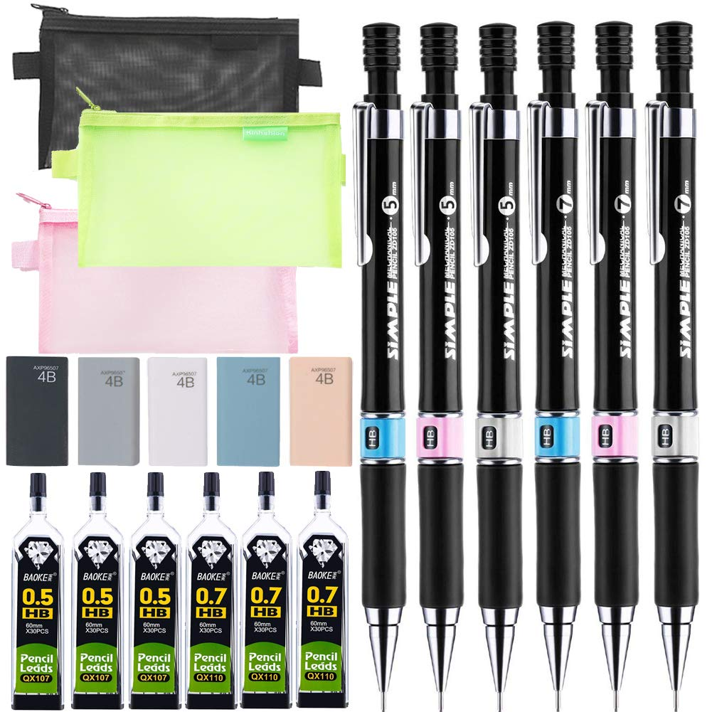 20 PCS Mechanical Pencil Set, 6 PCS 0.7 and 0.5 mm Mechanical Pencils, 6 PCS Tubes HB Lead Refills, 5 PCS Erasers and 3 Pencil Bags for School and Office
