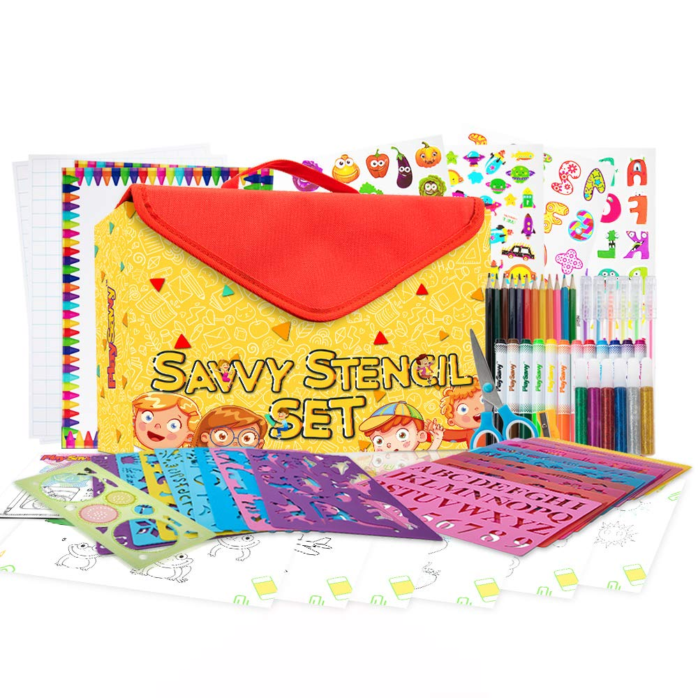 Stencil Drawing Kit for Kids, 100 Piece Set with 300+ Stickers, 540+ Stencil Shapes, Spirograph, Art and Craft Supplies, Gel Pens, Colored Pencils, Paper, Carry Case + More, STEM Toys For Boys & Girls