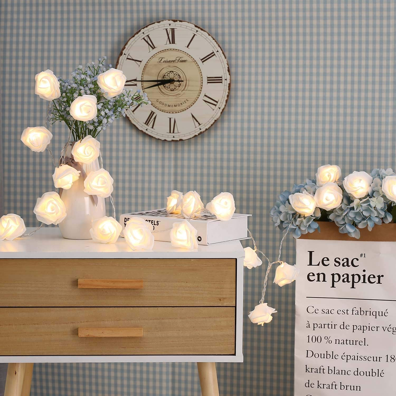 JMEXSUSS Timer 8 Modes 30 LED Battery Operated Warm White Rose Flower 16.4 Feet Fairy String Light for Valentine Decoration Wedding Bedroom Garden Christmas Decor (30LED 16.4Feet, Warm White)