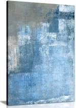 Grey and Blue Abstract Painting Canvas Wall Art Picture Print (18x12)
