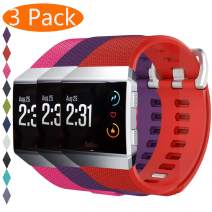 KingAcc Compatible Replacement Bands for Fitbit Ionic, Soft Silicone Fitbit Ionic Band with Metal Buckle Fitness Wristband Strap Women Men (3-Pack, Red&Rose&Purple, Small)
