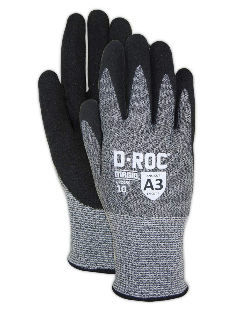 Magid Glove & Safety GPD255-12 Magid D-ROC HPPE Blended NitriX Grip Technology Palm Coated Work Gloves, Cut Level A3, Size 7, Salt and Pepper/Light Blue (12 Pairs)