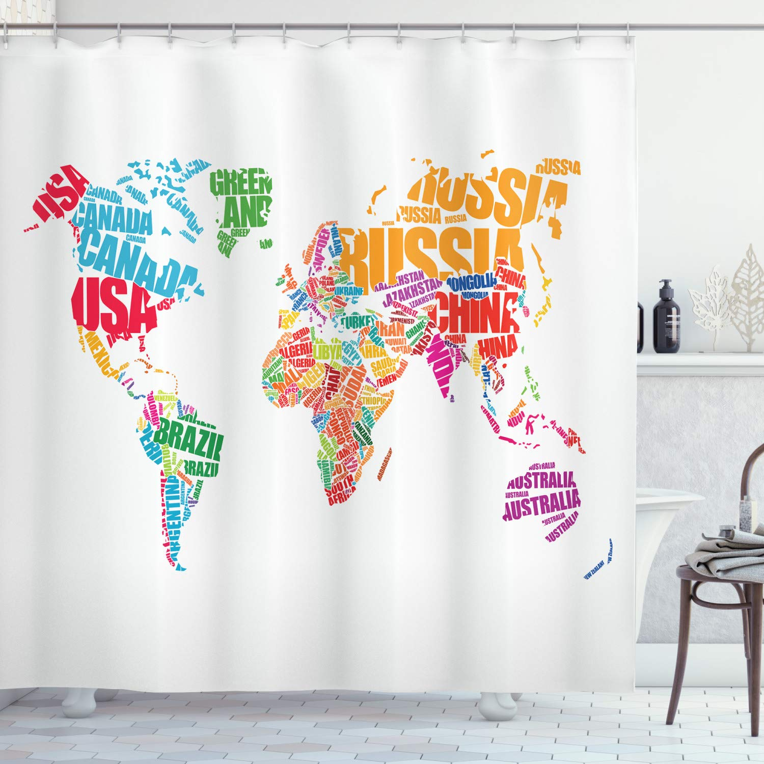 """Ambesonne World Map Shower Curtain, World Map with Names of The Countries Europe America Africa Asia Graphic Style, Cloth Fabric Bathroom Decor Set with Hooks, 84"""" Long Extra, Dark Coral"""