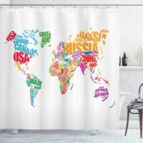 "Ambesonne World Map Shower Curtain, World Map with Names of The Countries Europe America Africa Asia Graphic Style, Cloth Fabric Bathroom Decor Set with Hooks, 84"" Long Extra, Dark Coral"