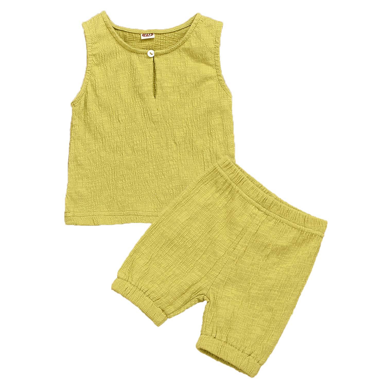 Toddler Kids Baby Girls Boys Solid T shirt Tops Shorts Pants Summer 2PCS Outfits