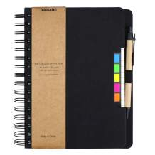 SAIBANG Spiral Notebook Steno Notepad, Wide Ruled Lined Paper Notebooks with Pocket, Pen in Holder, Colored Sticky Notes Index Tabs Page Markers for School Office, 7 x 9 inch, Kraft Cover (Black)