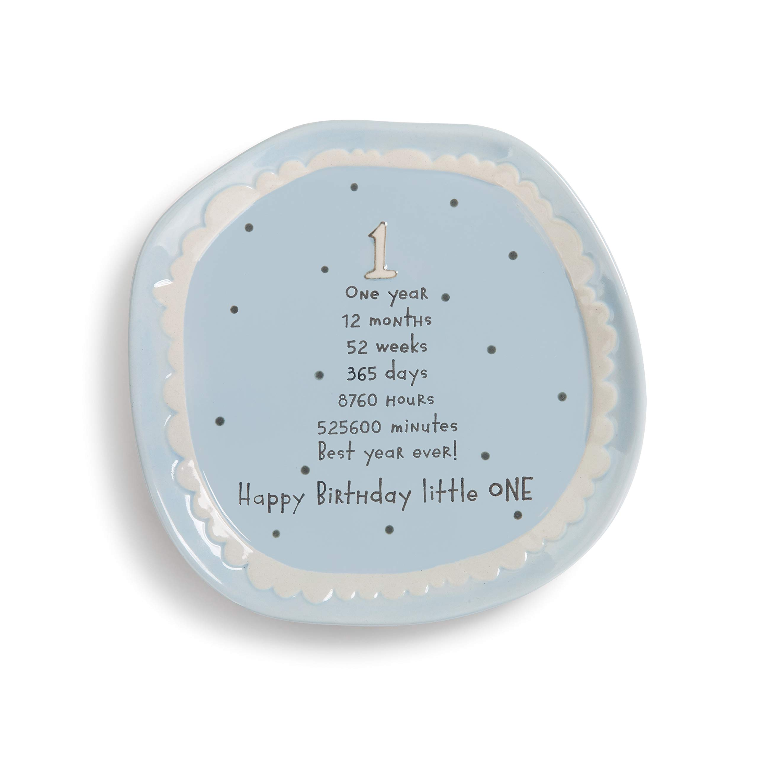 DEMDACO Happy Birthday Little One Blue Polka Dot 7 x 7 Circle Stoneware One Year Cake Dessert Plate