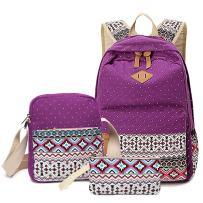 HITOP Backpacks for Teen Girls, Cute Fashion School Student Bookbag Set, Laptop Bag Shoulder Bag Pencil Bag 3 in 1 … (Purple(1 Set))