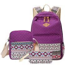 HITOP Backpacks for Teen Girls, Cute Fashion School Student Bookbag Set, Laptop Bag Shoulder Bag Pencil Bag 3 in 1 … (Purple(1 Set))