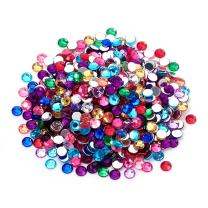 Pandahall 1000pcs Faceted Half Round/Dome Acrylic Rhinestone Cabochons for DIY Scrapbooking Embellishment Glue-on Sticker Mixed Color 8x2.5mm