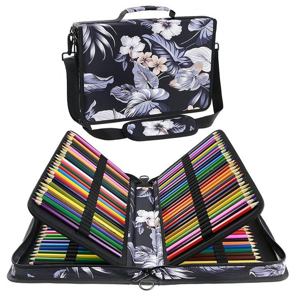 Shulaner 160 Slots Colored Pencil Case Organizer Sinensis Flower Large Capacity Portable Pencil Bag (160-Flower-White)