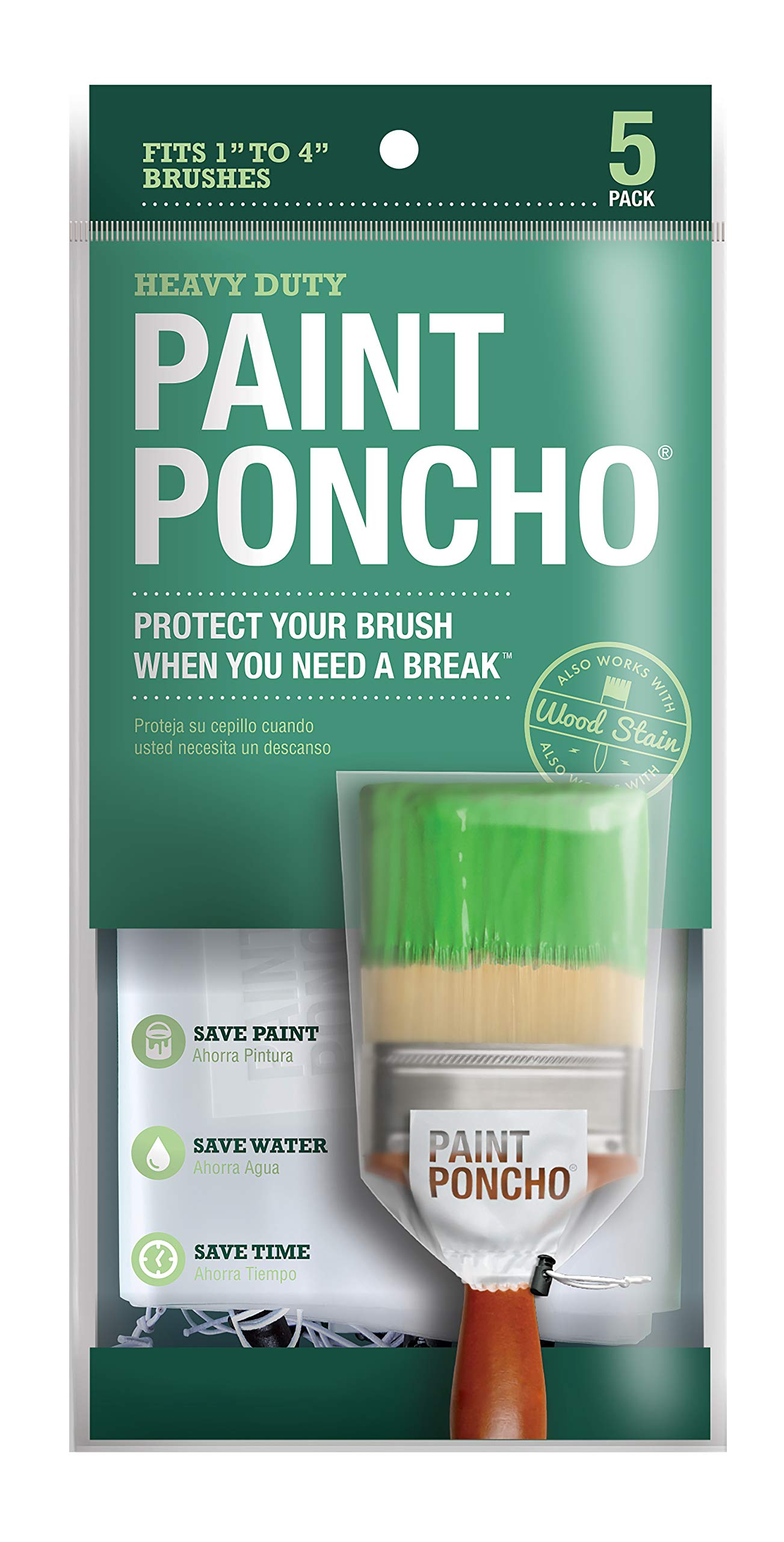 """Paint Poncho Wet Roller/Paint Brush Covers 5 Pack Fits 1"""" to 4"""" Brushes"""