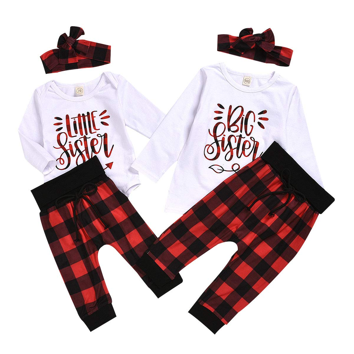 Kids Toddler Baby Girl Sister Macthing Pants Set Letter Romper T-Shirt + Plaid Pants with Headband Clothes Set