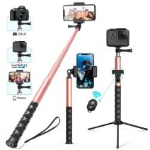 Whlzd Selfie Stick Tripod, 46 Inch Extendable Bluetooth Selfie Stick Tripod with Wireless Remote, Compatible Monopod for iPhoneX/8/8Plus/7/GalaxyS9/S9Plus/Note8/S8Plus/GoPro/DSLR Cameras(Rose Gold)