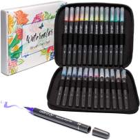 ColorIt Refillable Watercolor Brush Pens Set - 24 Colors with Flexible Real Brush Tips and Bonus Travel Case - Artist Quality Paint Markers for Adult Coloring Books, Painting, Calligraphy