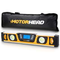 MOTORHEAD 16-Inch 0° - 180° SMART DIGITAL Level, LCD Screen, Audible Alerts, Water, Dust & Shock Resistant, Magnetic Bottom, Includes Bag, High-Visibility, Solid-Milled Aluminum, USA-Based Support