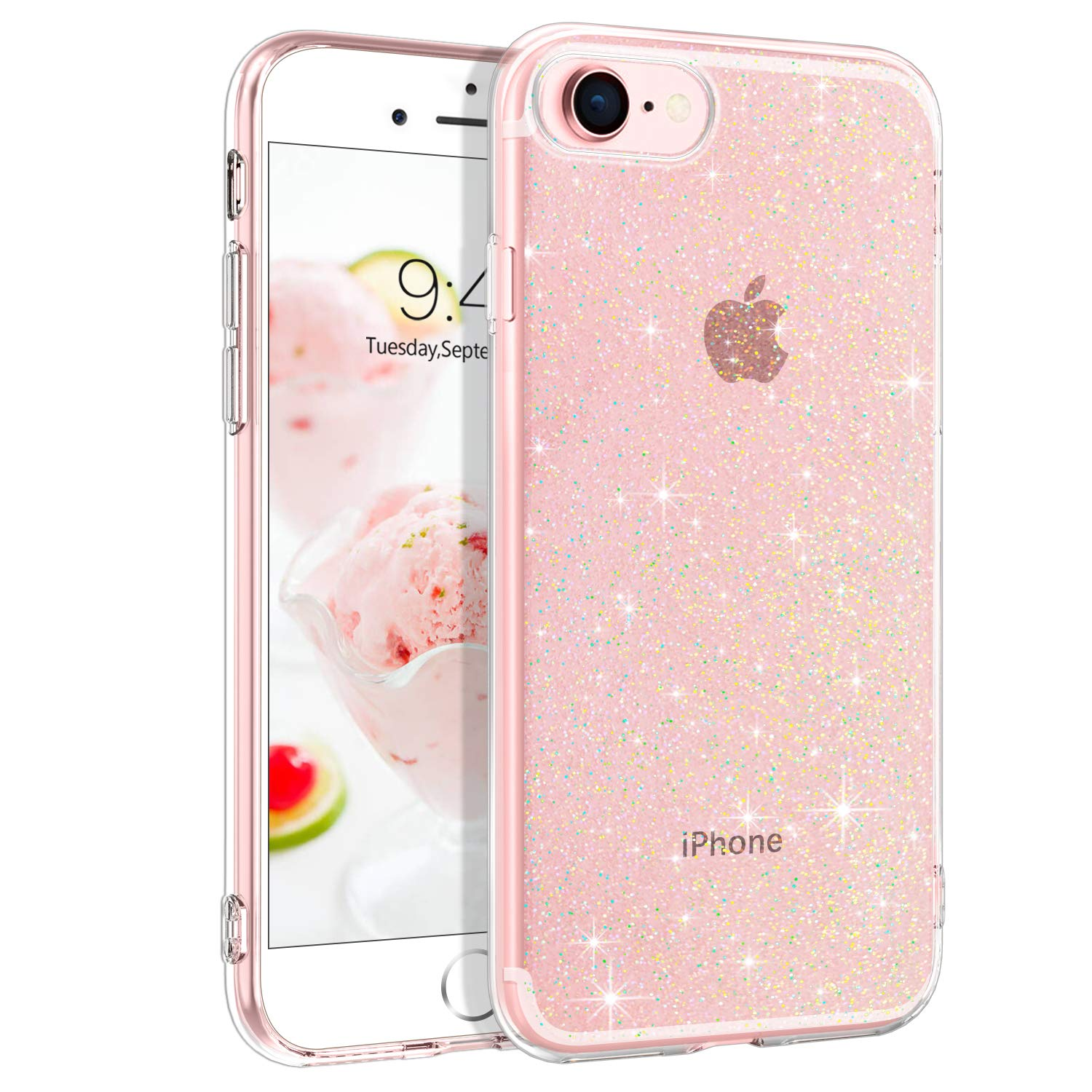 DUEDUE iPhone SE 2020 Case,iPhone 7/8 Case, Ultra Slim Crystal Glitter Soft TPU Shockproof Transparent Cover for New iPhone SE2/8/7, Clear