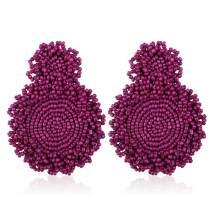 Statement Beaded Earrings Drop Dangle Round Earrings Bohemian for Women Girl Novelty Fashion Summer Accessories