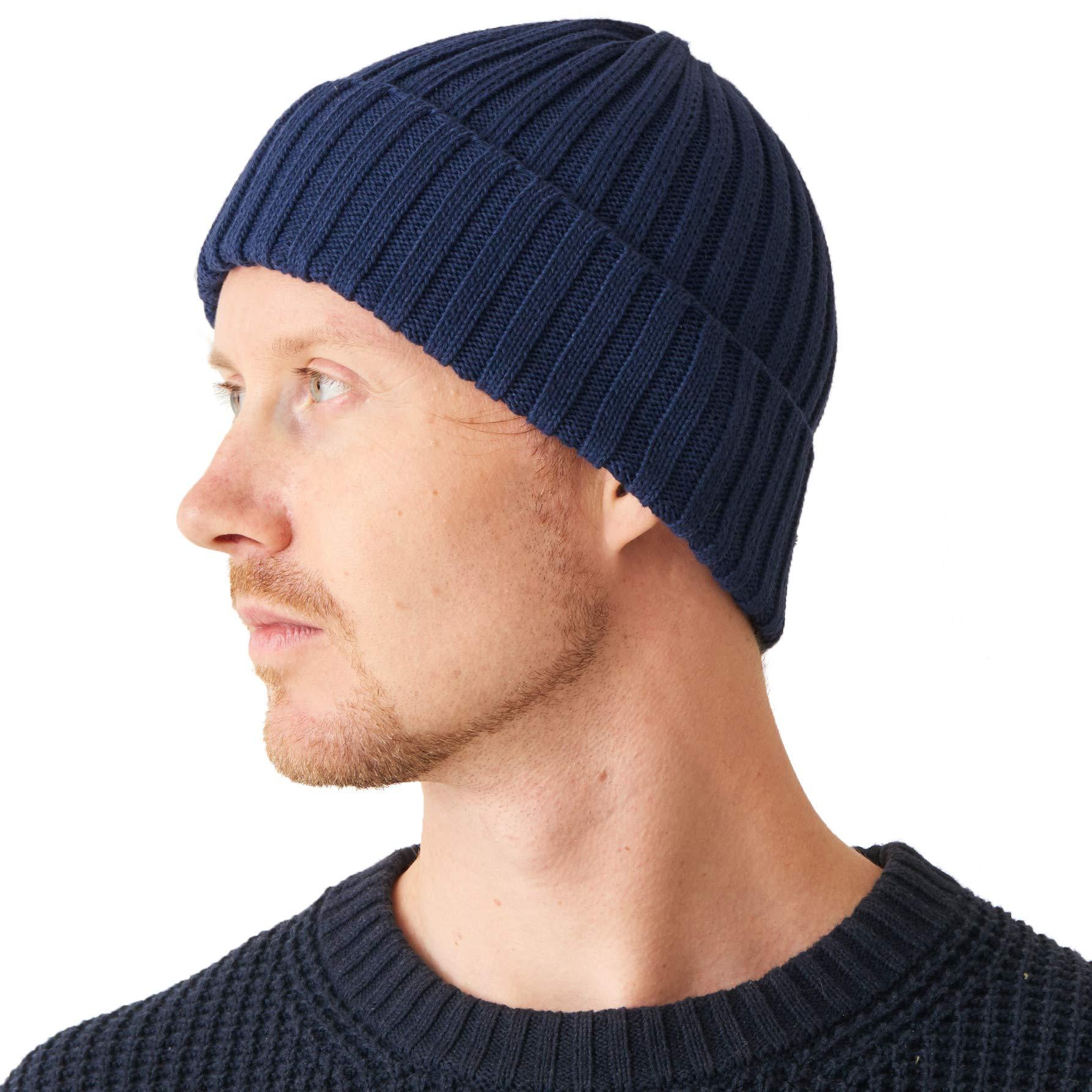 CHARM Mens Fisherman's Beanie Hat - Cotton Slouch Cap Women Chemo Knit Winter