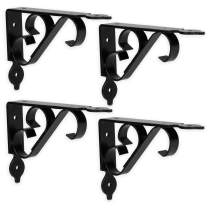 Heavy Duty Floating Shelf Brackets, 4 Pack - 4x6 Inch Decorative Metal Shelf Holders for Wall Mount Shelves