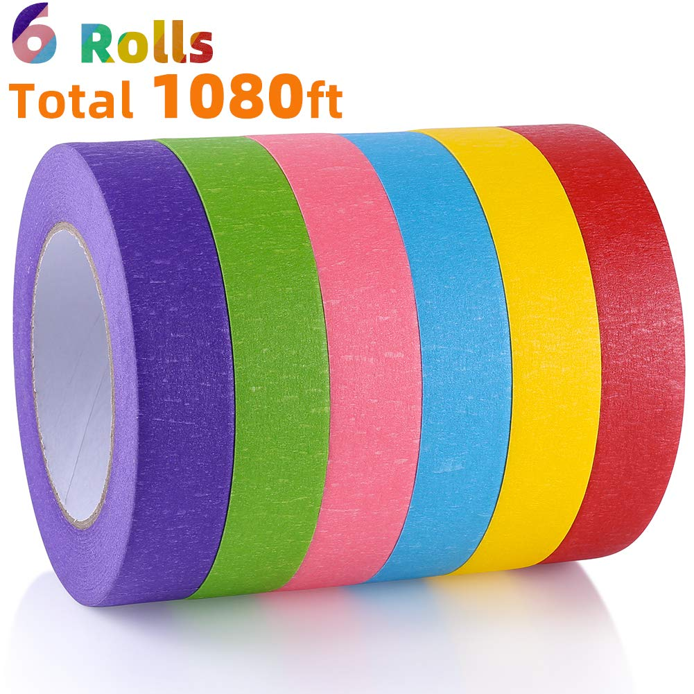 Colored Masking Tape Rainbow Colors Painters Tape Colorful Writable Paper Tape for Kids Labeling Arts Crafts DIY Decorative Coding Decoration Teaching Supplies, 6 Pack, 60 Yards Long x 1 Inch Wide