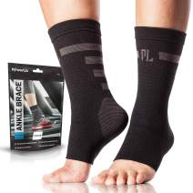 Powerlix Ankle Compression Sleeve, Nano Sock, Arch & Ankle Support for Men & Women (Pair), Medical Foot & Ankle Brace for Running, Injury Recovery, Neuropathy, Heel & Achilles Tendonitis Pain Relief