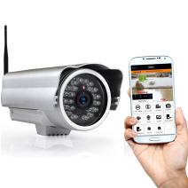 Outdoor Wireless Home Security Surveillance IP Camera with Weatherproof Aluminum Body and Night Vision - Connect Wifi for Remote Access to Live Video from Desktop or Mobile App