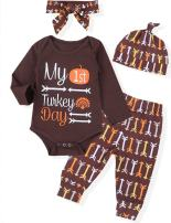 Thanksgiving Newborn Baby Girl Boy Outfits My 1st Thanksgiving Romper Bodysuit+Pants+Hat Infant Turkey Outfits Set