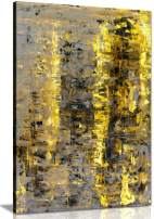 Brown Yellow Abstract Painting Canvas Wall Art Picture Print (36x24)