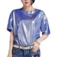 AIBEARTY Women Girls Shiny Metallic Round Neck Tops Short Sleeve T-Shirt Blouse