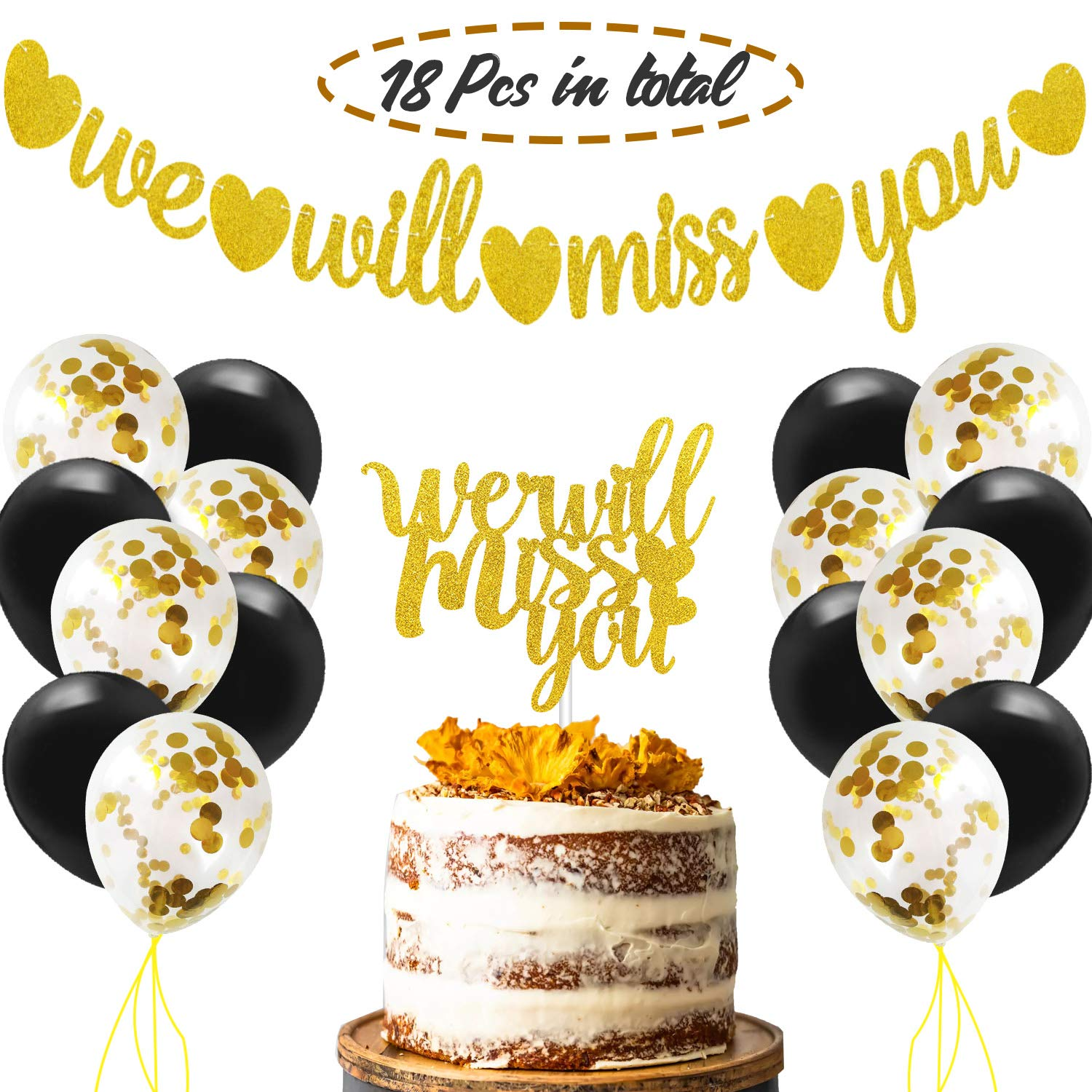 We Will Miss You Bunting Banner & Cake Topper Gold Glitter Party Decorations with Balloons Kit for Retirement Going Away Farewell Job Change Graduation Wedding Party Supplies