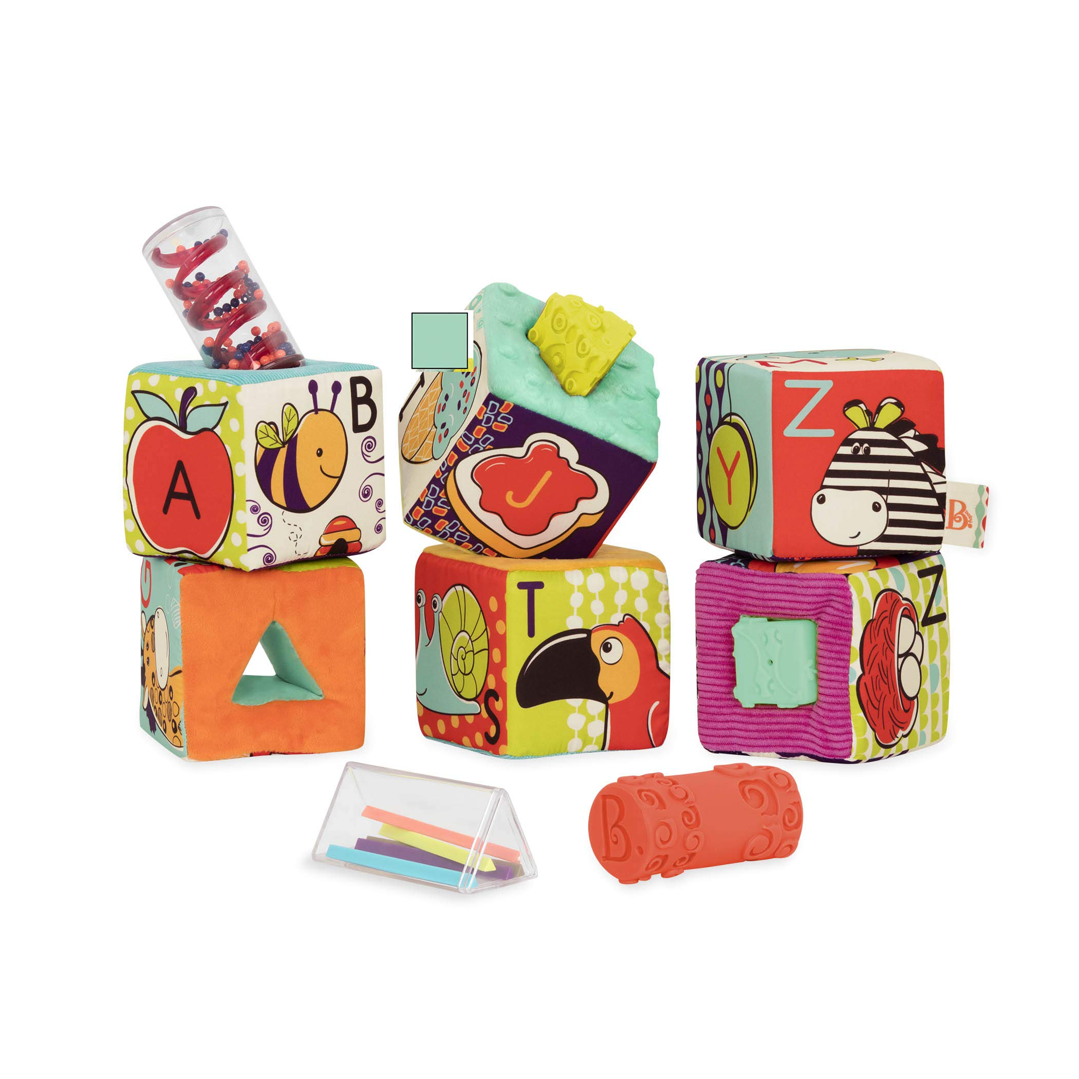 B. toys by Battat ABC Block Party Baby Blocks – Soft Fabric Building Blocks for Toddlers – Educational Alphabet Blocks with 6 Textured Toy Blocks & 5 Shapes – Grab & Stack Blocks, Multicolored