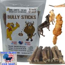 Dog Chits Bully Sticks | 6 and 12 inch | Odorless | Made in USA | USA Livestock |All Natural | Grass-Fed | Great for Dogs and Puppies | Long Lasting Chew | Fully Digestible | High Protein