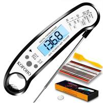 KOFOHO Meat Food Thermometer,Digital Instant Read Waterproof Kitchen Cooking Beef Candy Quick Read Thermometer with Foldable Probe for Oil Deep Fry BBQ Grill Smokers (Black)