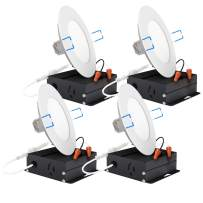 Sunco Lighting 4 Pack 4 Inch Slim LED Downlight with Junction Box, 10W=60W, 650 LM, Dimmable, 3000K Warm White, Recessed Jbox Fixture, Simple Retrofit Installation - ETL & Energy Star