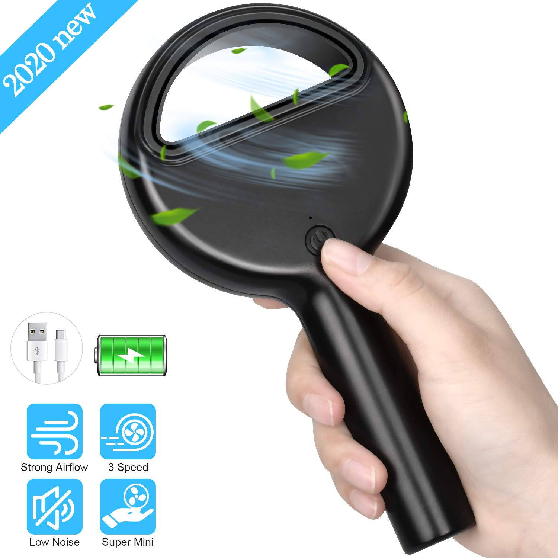 Yobenki Portable Fan, Mini Handheld Fan Strong Wind Bladeless Fan with USB Rechargeable Battery Operated Fan Adjustable 3 Speed Small Personal Fan for Camping Outdoor Travel Household (Black)