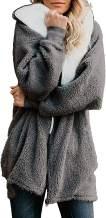 Yanekop Women Oversized Sherpa Hoodie Fuzzy Fleece Jacket Zip Up Outerwear Coat with Pockets