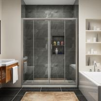 """SUNNY SHOWER BP04P4 Frameless Sliding Shower Doors, 1/4"""" Glass Chrome Finish, 60"""" L x 72"""" H"""