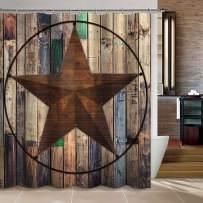 "Uphome Barn Star Fabric Shower Curtain, Western Texas Star on Rustic Brown Wooden Grain Cloth Shower Curtain for Bathroom Showers Bathtub (60"" W x 72"" H)"