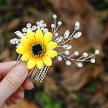 Aukmla Sunflower Hair Comb Flower Hair Accessories Crystal Hair Piece Pearl Hair Jewelry for Women and Girls HC-43 (Silver)