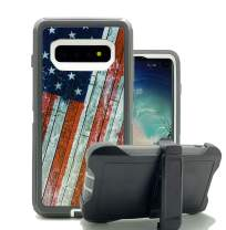 Harsel Galaxy S10 Cases, Heavy Duty Defender Camouflage Shockproof Military Grade Protection Durable Protective Case Cover with Rotating Belt Clip Kickstand for Galaxy S10 (American Flag)