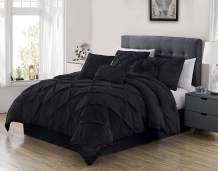 Chezmoi Collection Sydney 7-Piece Pinch Pleat Pintuck Bedding Comforter Set (King, Black)