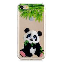 Huskylove Case for iPhone 7/8 Clear Lovely Panda Pattern IMD Soft Flexible TPU Ultra-Thin Shockproof Transparent Girls Women 2019 New Cover 4.7 inch(Panda, ip7/8)
